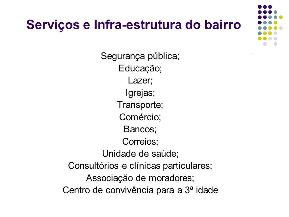 Serviços e Infra-estrutura do bairro