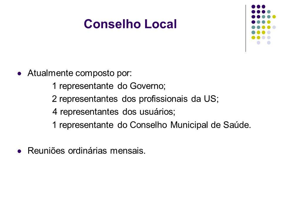 Conselho Local Atualmente composto por: 1 representante do Governo;