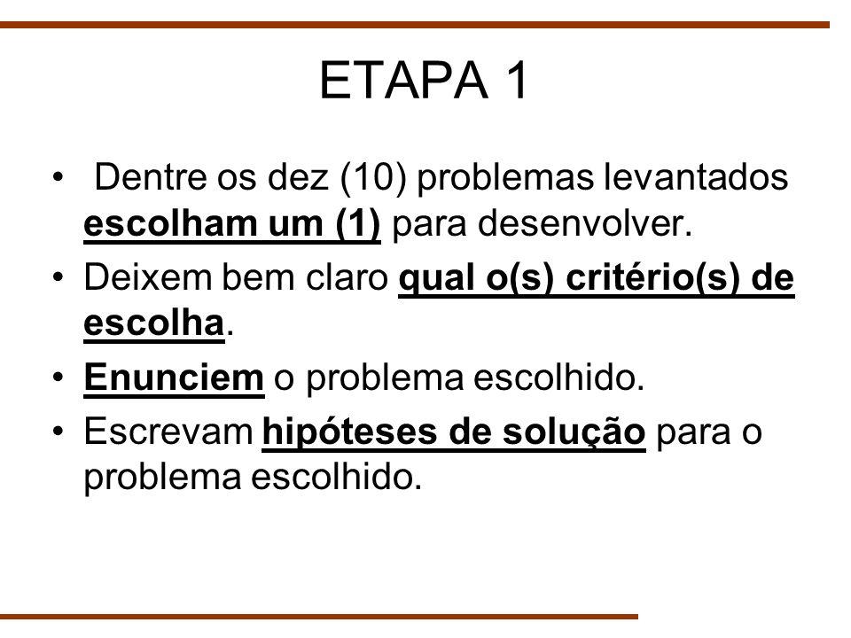 ETAPA 1 Dentre os dez (10) problemas levantados escolham um (1) para desenvolver. Deixem bem claro qual o(s) critério(s) de escolha.