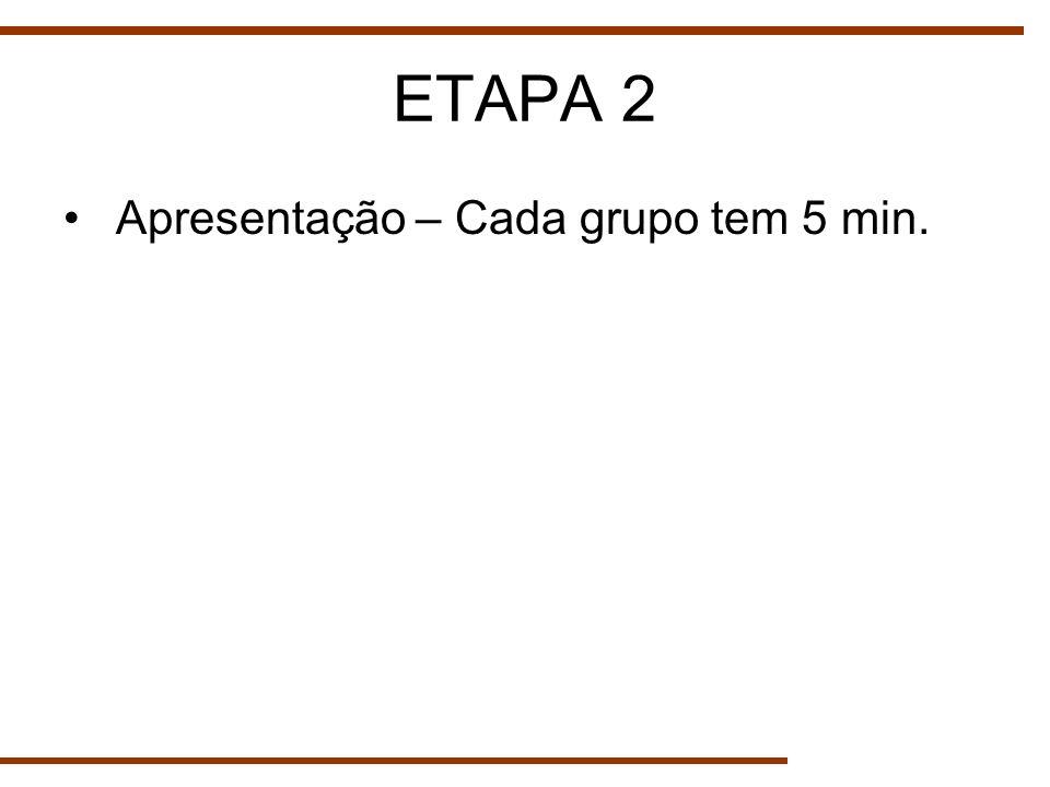 ETAPA 2 Apresentação – Cada grupo tem 5 min.