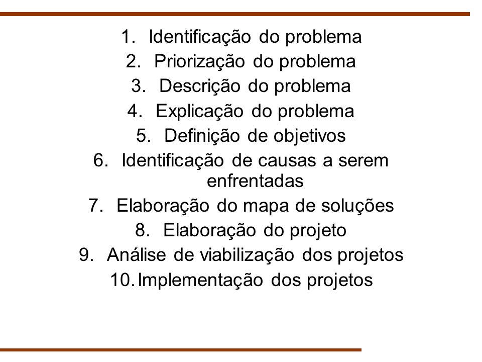 Identificação do problema Priorização do problema