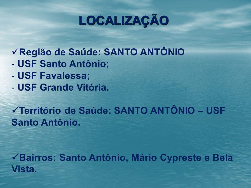 LOCALIZAÇÃO Região de Saúde: SANTO ANTÔNIO USF Santo Antônio;