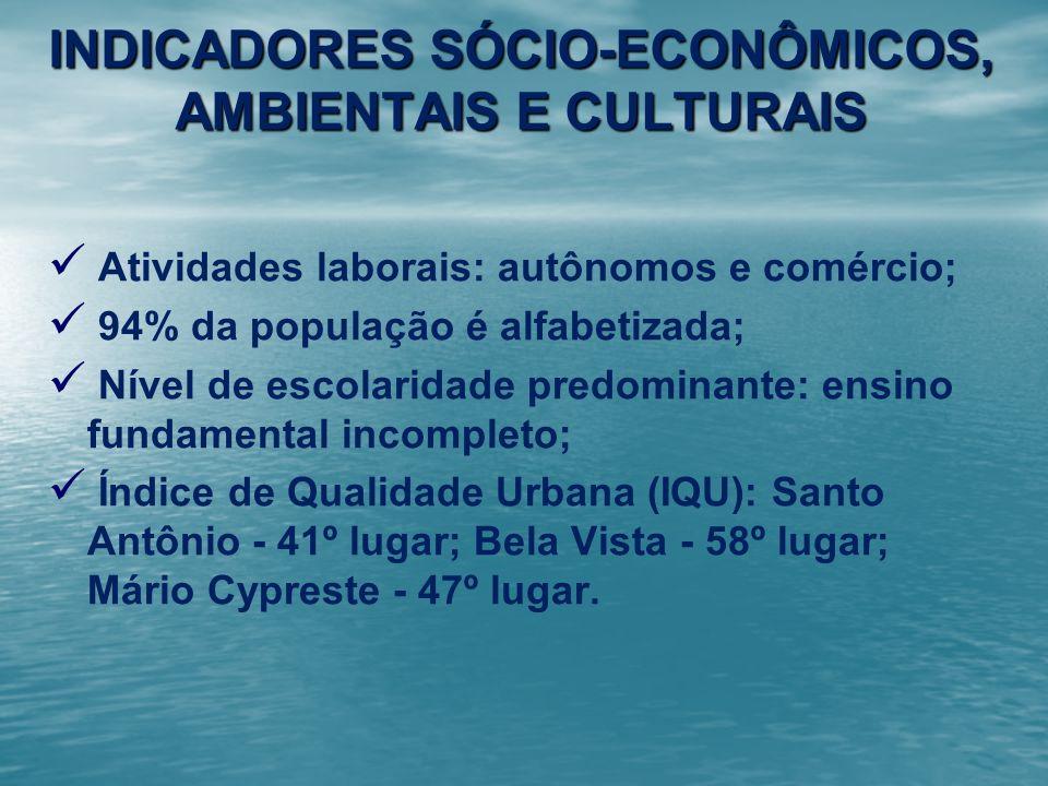 INDICADORES SÓCIO-ECONÔMICOS, AMBIENTAIS E CULTURAIS