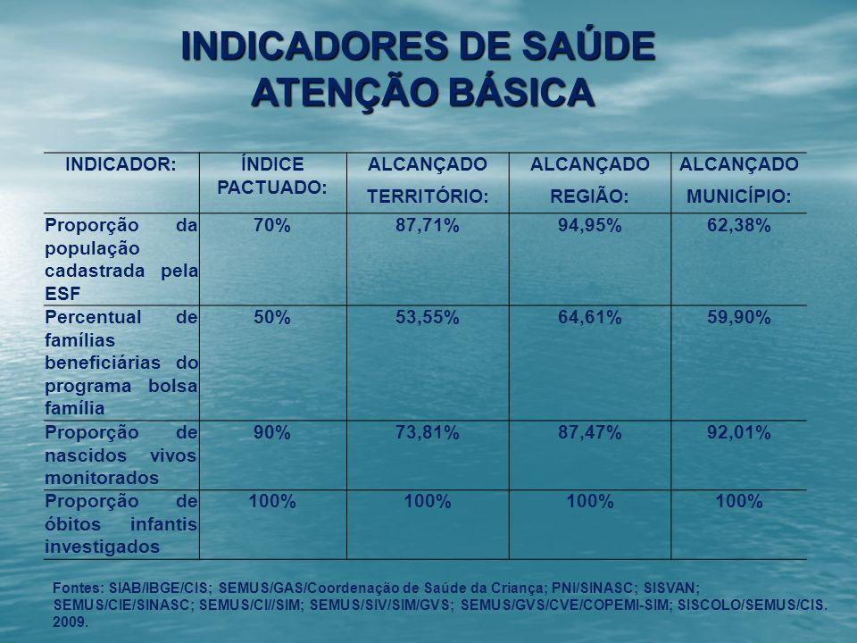 INDICADORES DE SAÚDE ATENÇÃO BÁSICA
