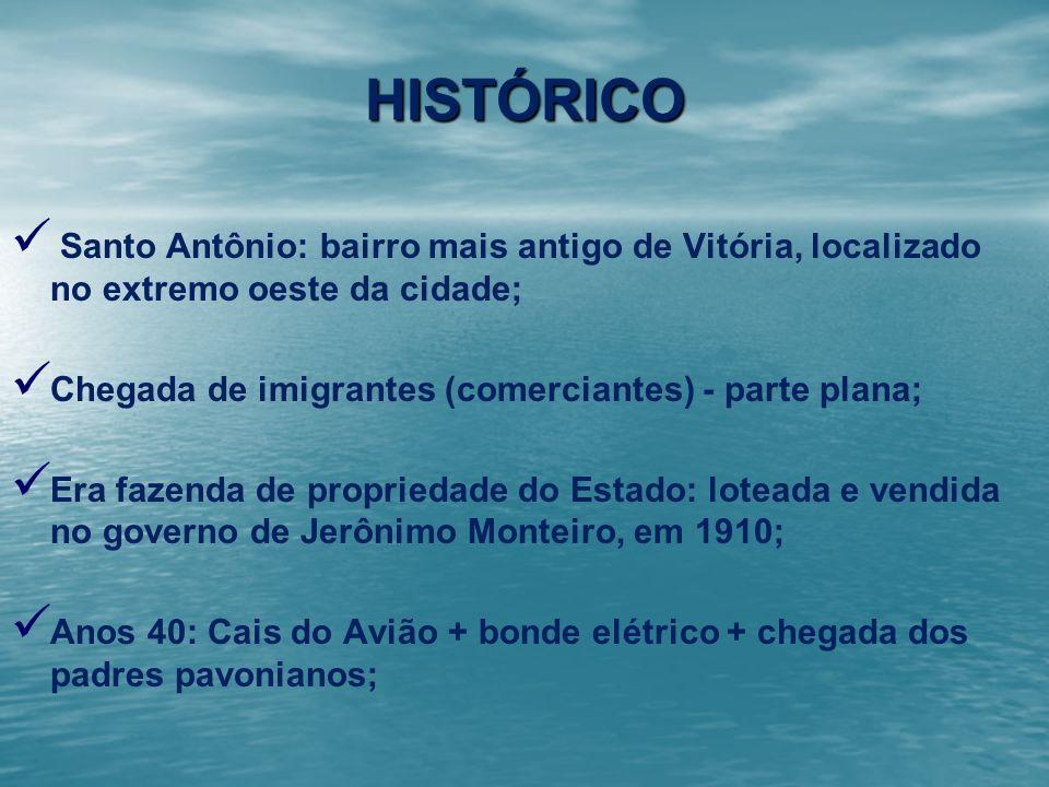 HISTÓRICOSanto Antônio: bairro mais antigo de Vitória, localizado no extremo oeste da cidade; Chegada de imigrantes (comerciantes) - parte plana;