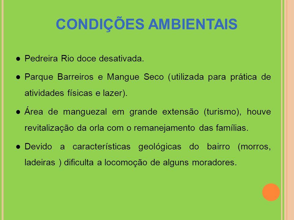 CONDIÇÕES AMBIENTAIS Pedreira Rio doce desativada.