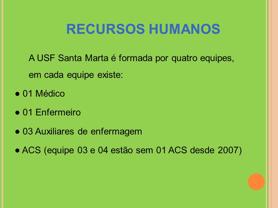RECURSOS HUMANOS A USF Santa Marta é formada por quatro equipes, em cada equipe existe: 01 Médico.