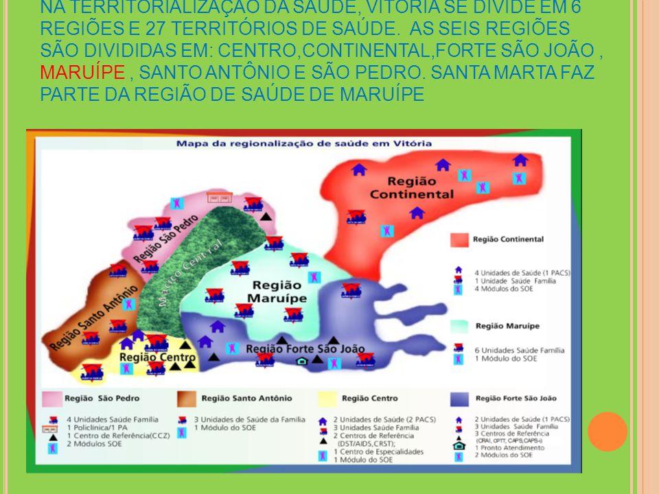 NA TERRITORIALIZAÇÃO DA SAÚDE, VITÓRIA SE DIVIDE EM 6 REGIÕES E 27 TERRITÓRIOS DE SAÚDE.
