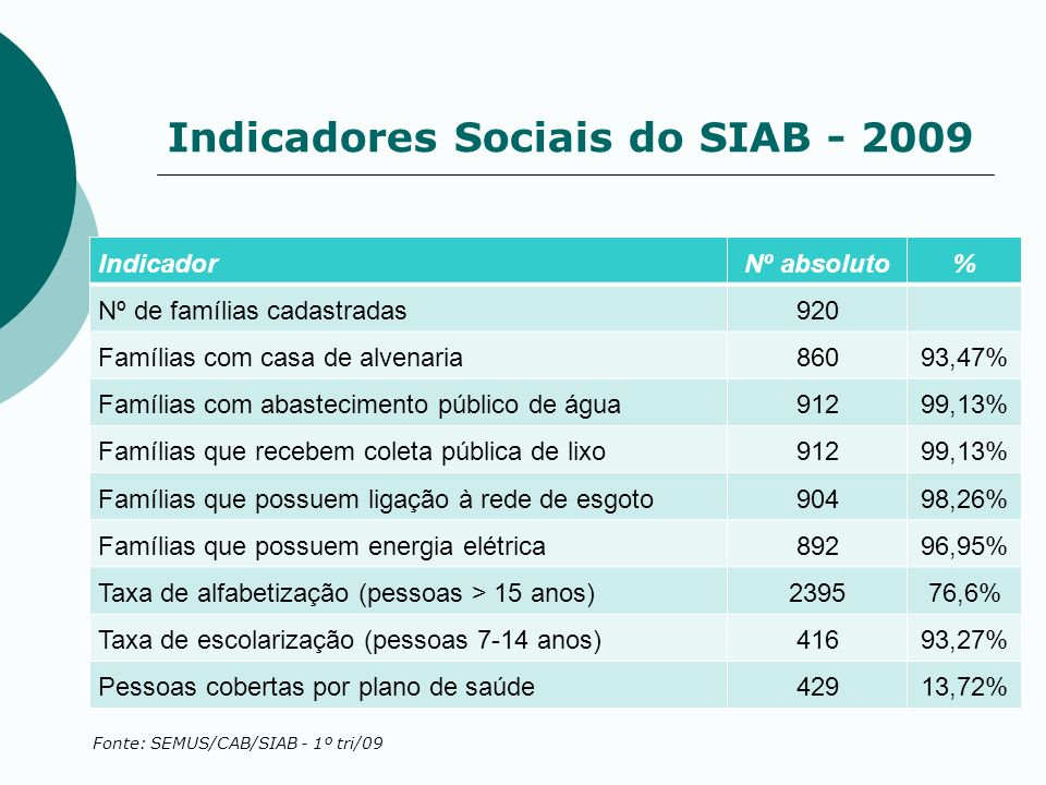 Indicadores Sociais do SIAB - 2009