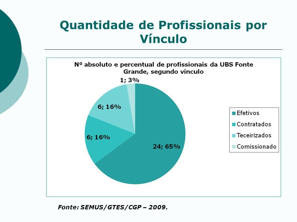 Quantidade de Profissionais por Vínculo