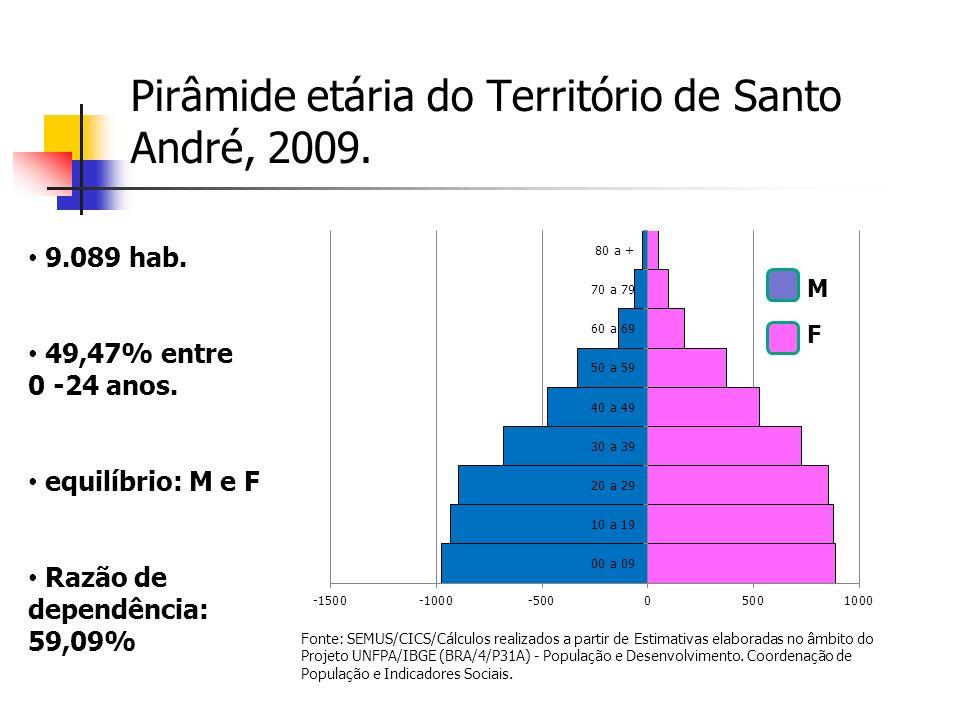 Pirâmide etária do Território de Santo André, 2009.