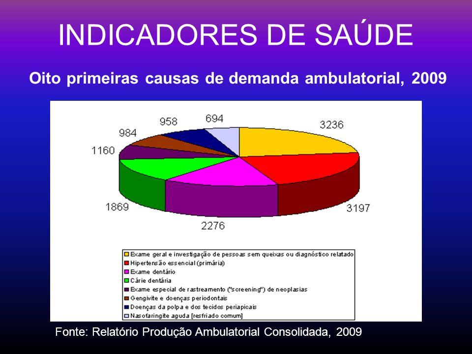 INDICADORES DE SAÚDE Oito primeiras causas de demanda ambulatorial, 2009.