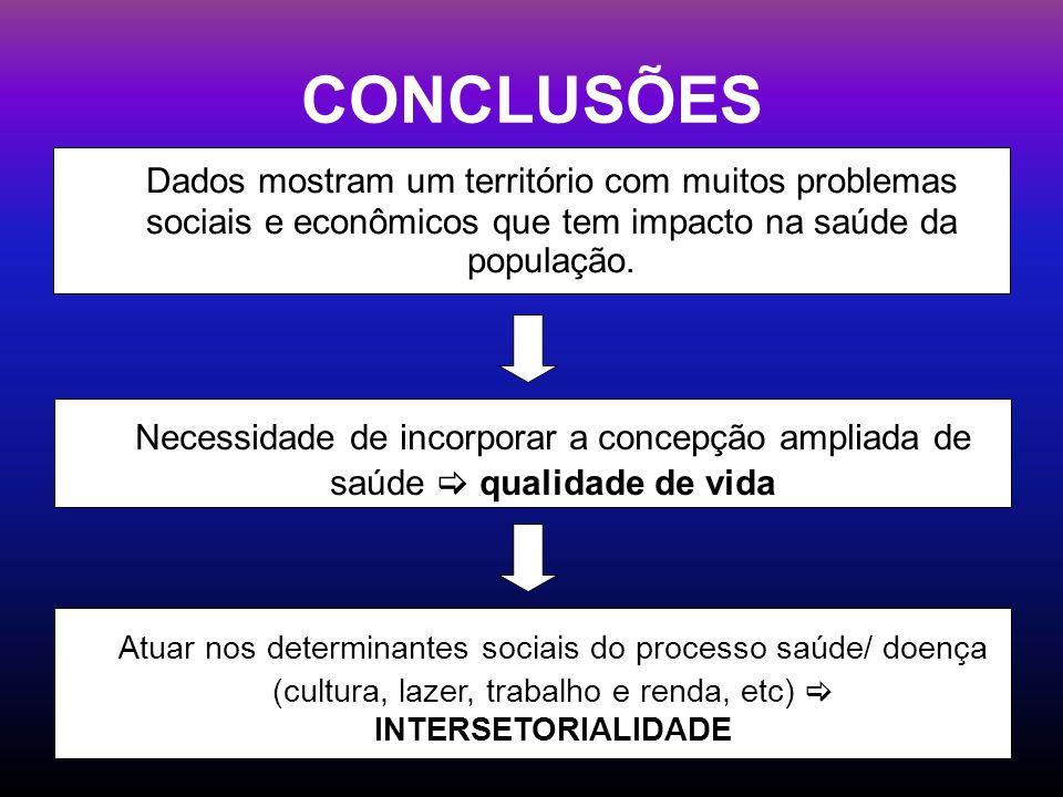 CONCLUSÕES Dados mostram um território com muitos problemas sociais e econômicos que tem impacto na saúde da população.