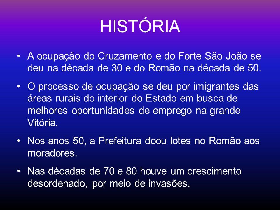 HISTÓRIA A ocupação do Cruzamento e do Forte São João se deu na década de 30 e do Romão na década de 50.