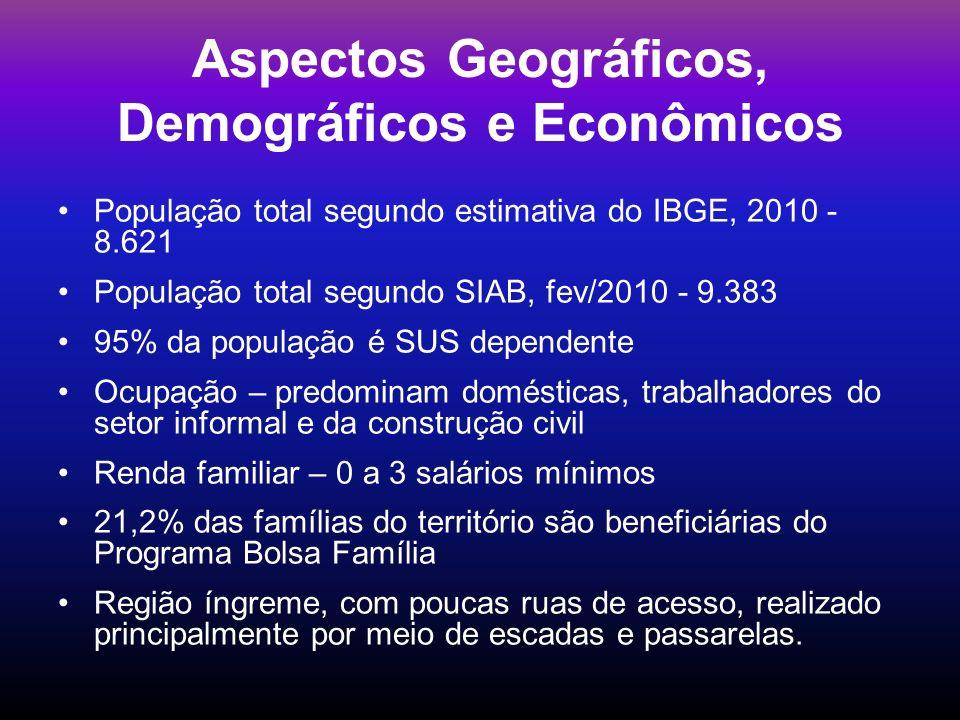 Aspectos Geográficos, Demográficos e Econômicos