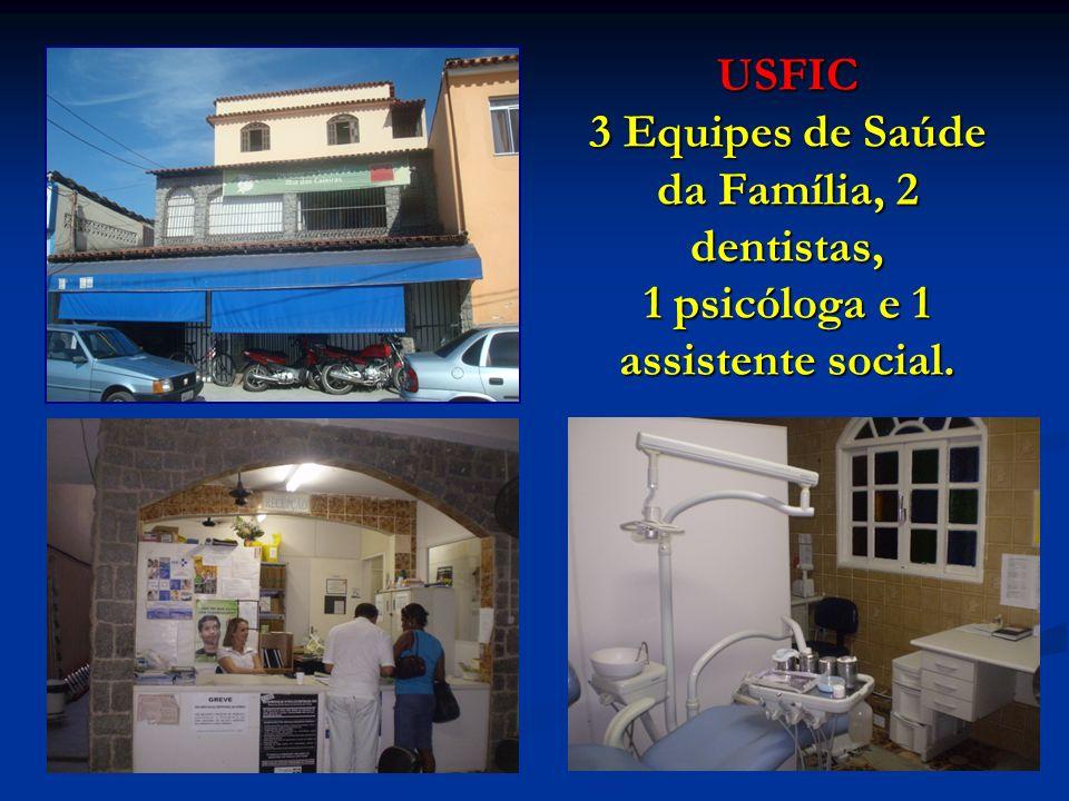 USFIC 3 Equipes de Saúde da Família, 2 dentistas, 1 psicóloga e 1 assistente social.