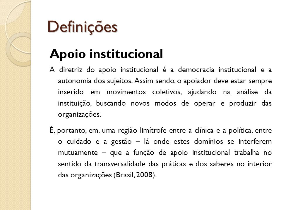 Definições Apoio institucional