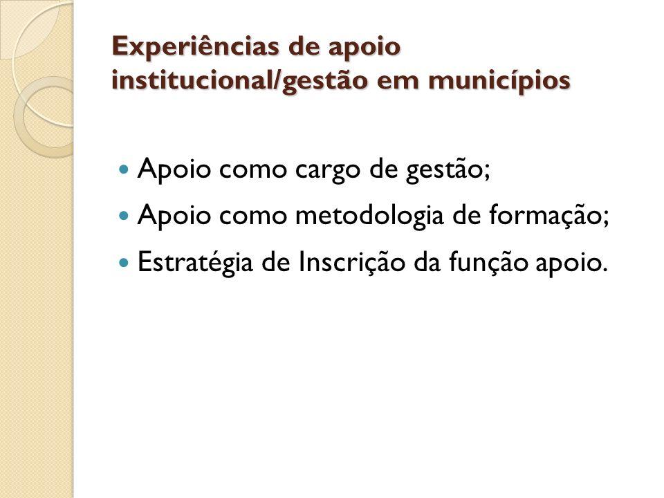 Experiências de apoio institucional/gestão em municípios