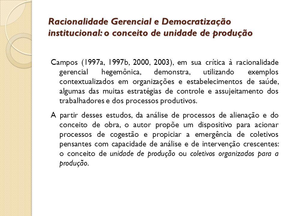 Racionalidade Gerencial e Democratização institucional: o conceito de unidade de produção