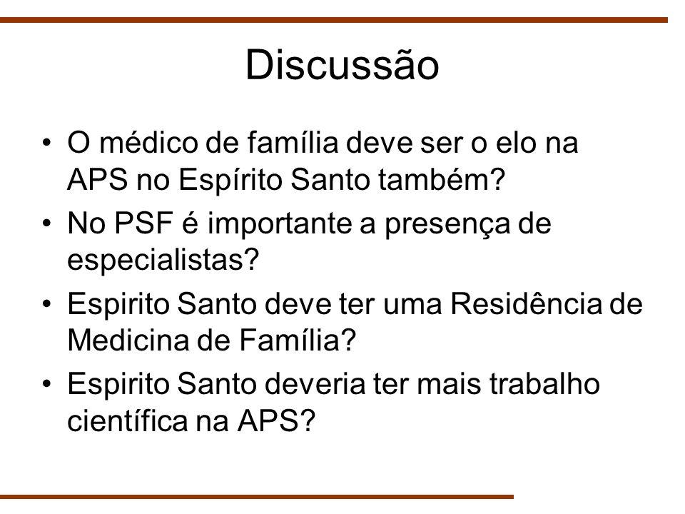 Discussão O médico de família deve ser o elo na APS no Espírito Santo também No PSF é importante a presença de especialistas