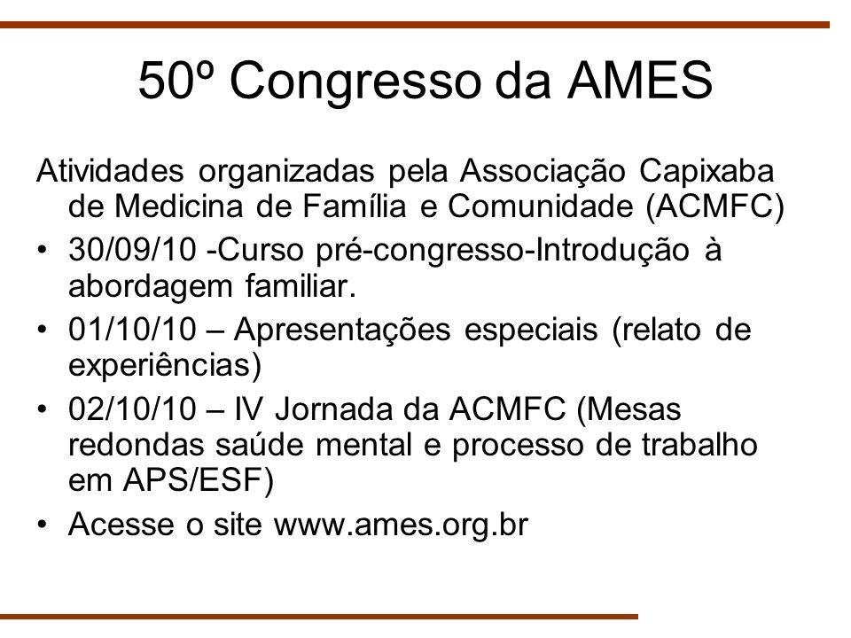 50º Congresso da AMES Atividades organizadas pela Associação Capixaba de Medicina de Família e Comunidade (ACMFC)