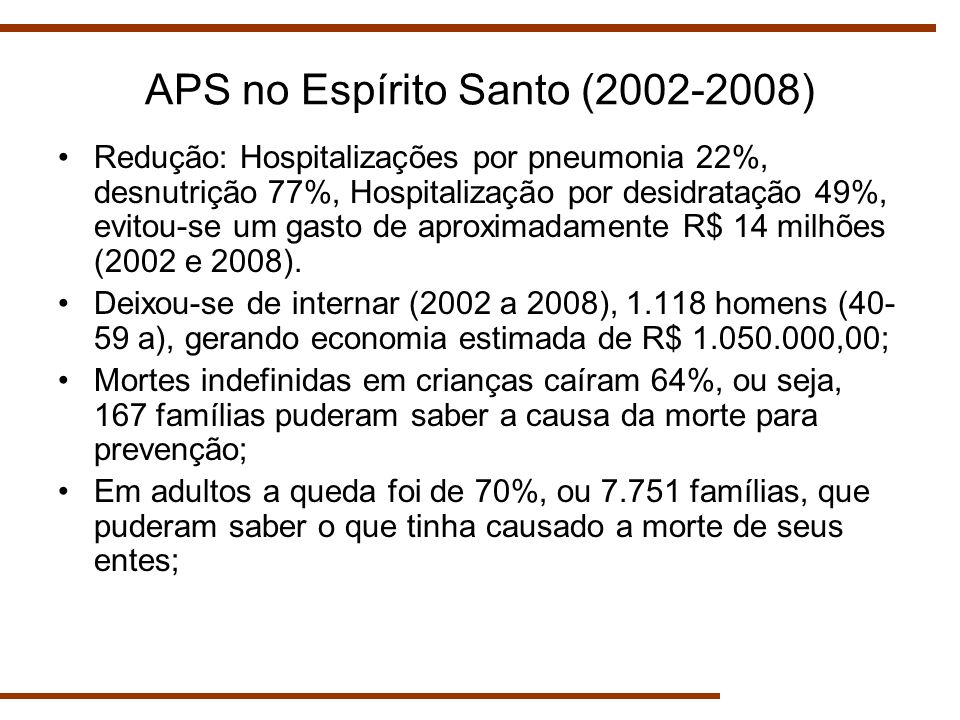 APS no Espírito Santo (2002-2008)