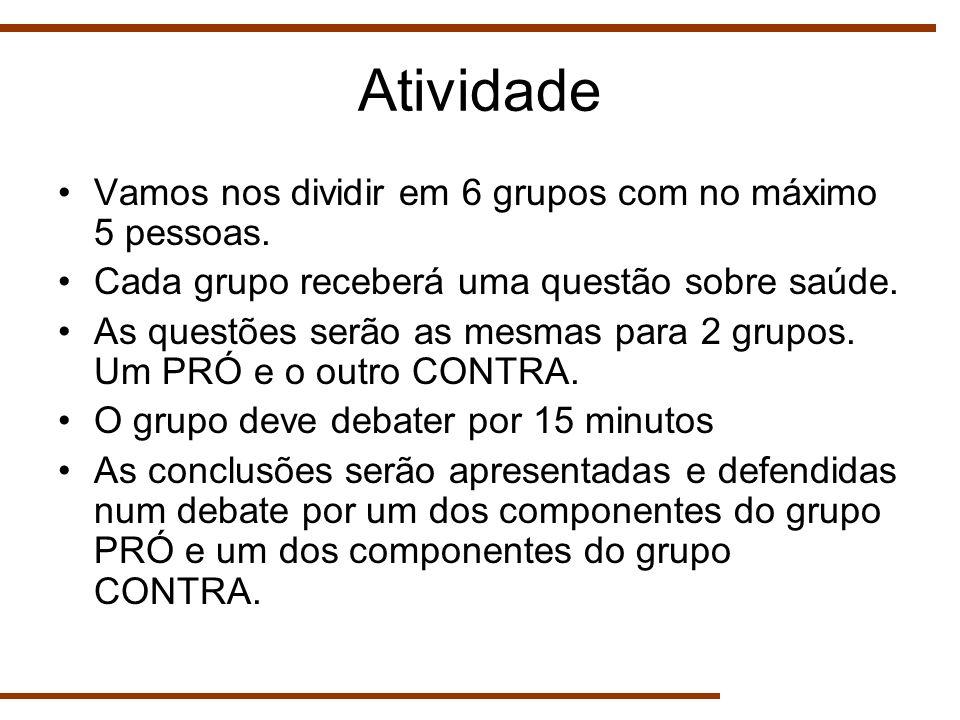 Atividade Vamos nos dividir em 6 grupos com no máximo 5 pessoas.