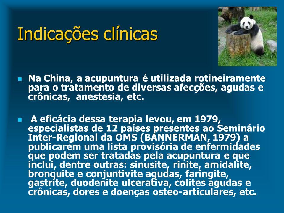 Indicações clínicas Na China, a acupuntura é utilizada rotineiramente para o tratamento de diversas afecções, agudas e crônicas, anestesia, etc.