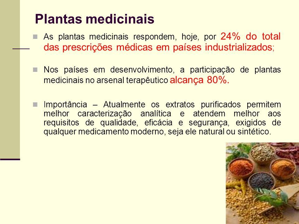 Plantas medicinais As plantas medicinais respondem, hoje, por 24% do total das prescrições médicas em países industrializados;