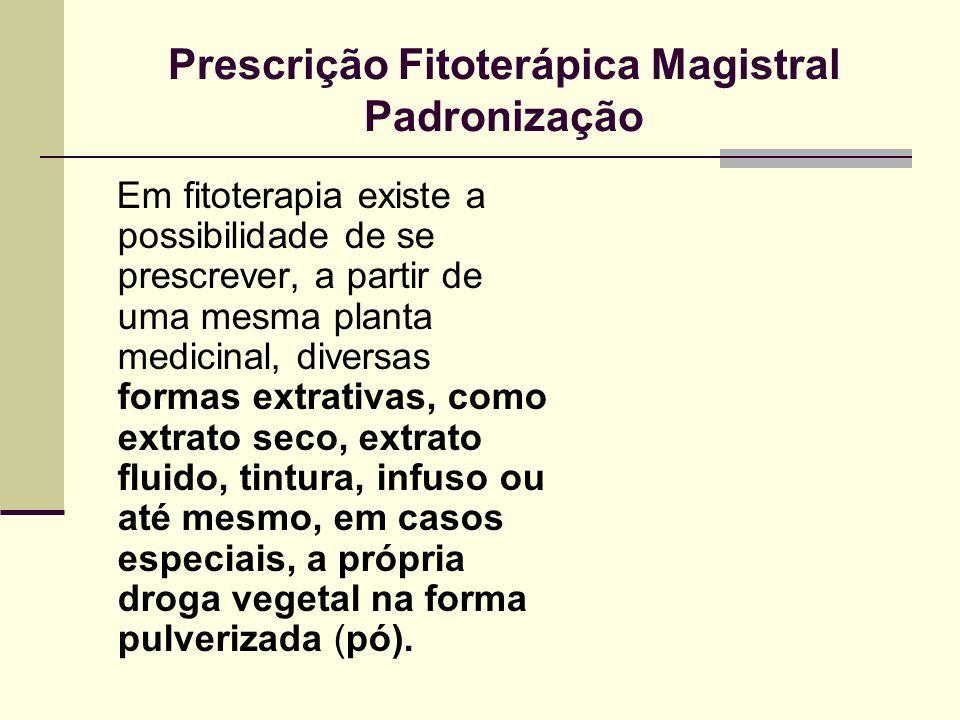 Prescrição Fitoterápica Magistral Padronização