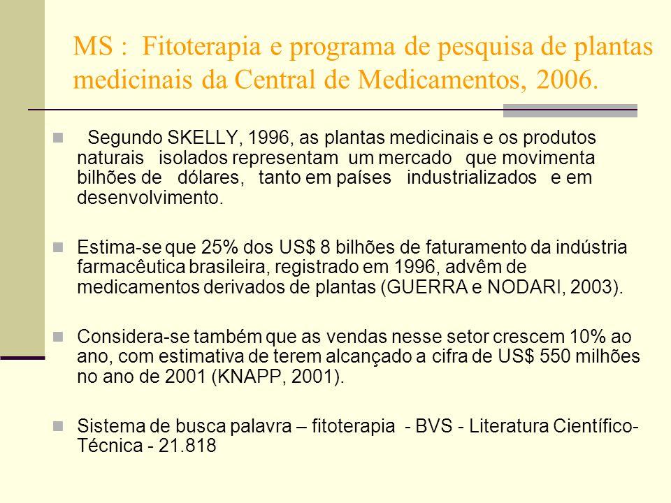 MS : Fitoterapia e programa de pesquisa de plantas medicinais da Central de Medicamentos, 2006.