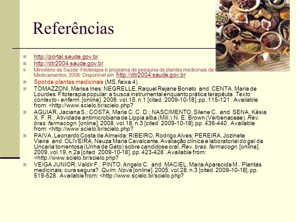 Referências http://portal.saude.gov.br http://dtr2004.saude.gov.br