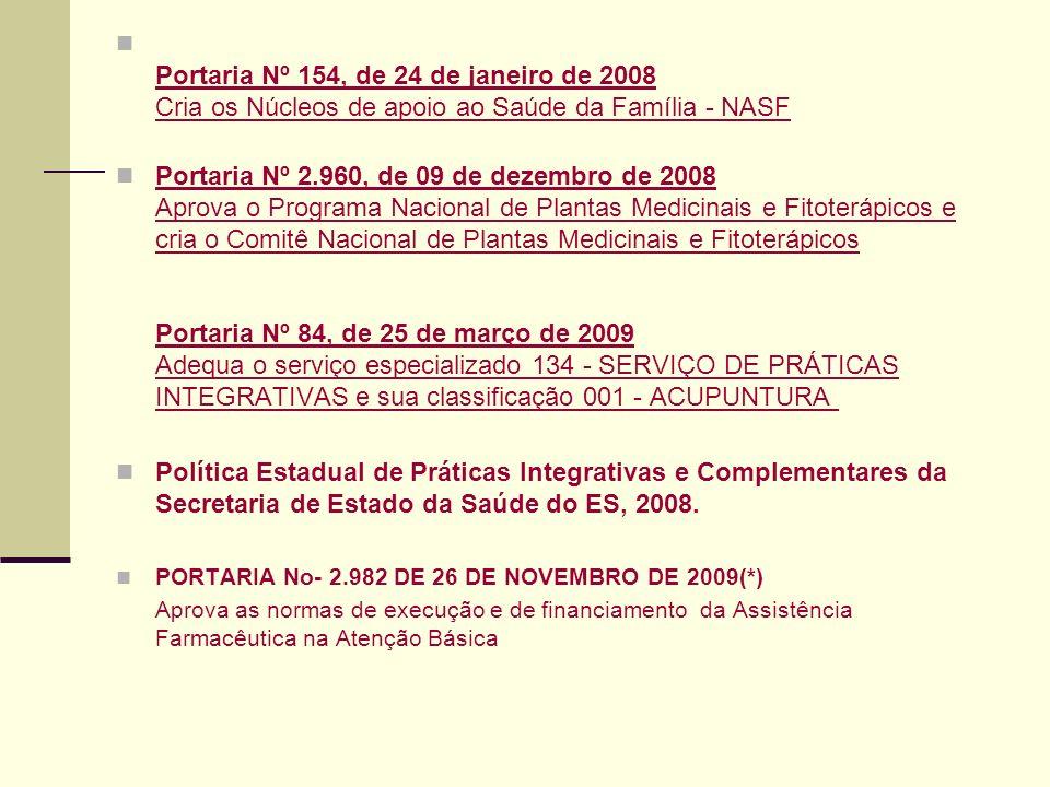 Portaria Nº 154, de 24 de janeiro de 2008 Cria os Núcleos de apoio ao Saúde da Família - NASF