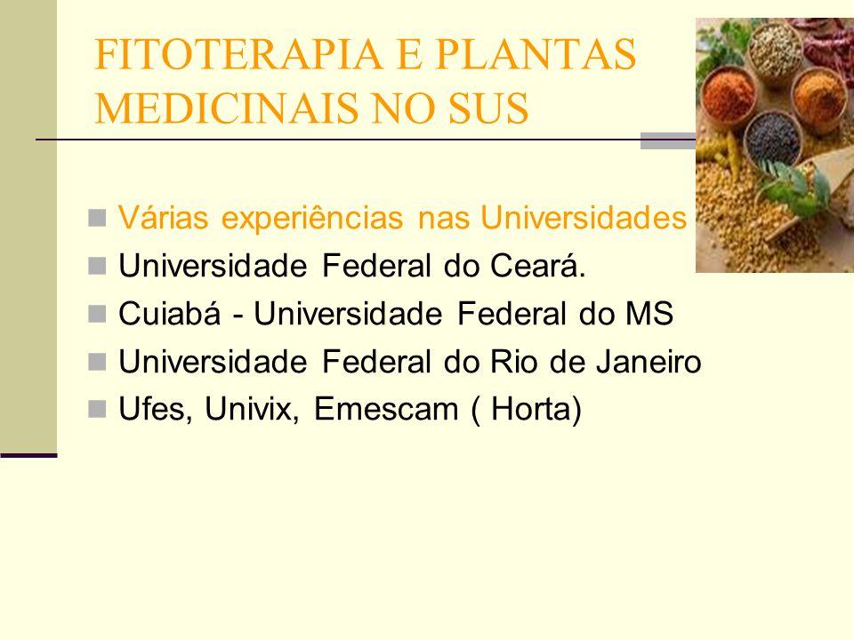 FITOTERAPIA E PLANTAS MEDICINAIS NO SUS