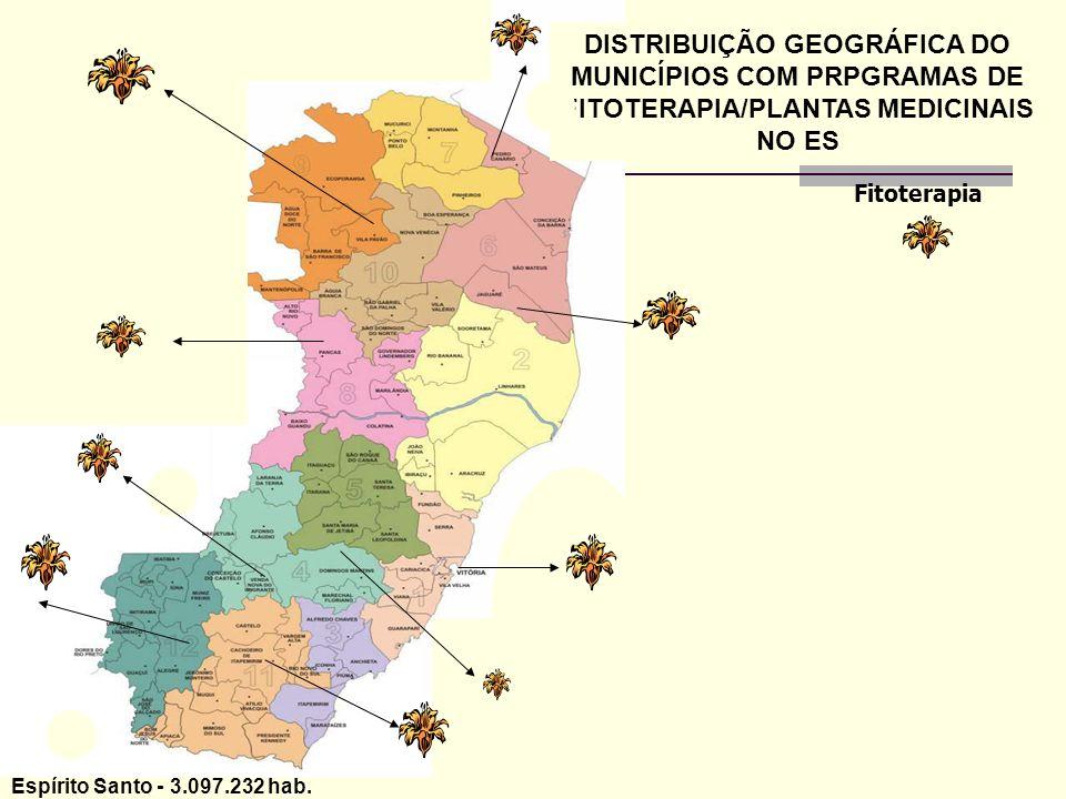 DISTRIBUIÇÃO GEOGRÁFICA DO MUNICÍPIOS COM PRPGRAMAS DE FITOTERAPIA/PLANTAS MEDICINAIS NO ES