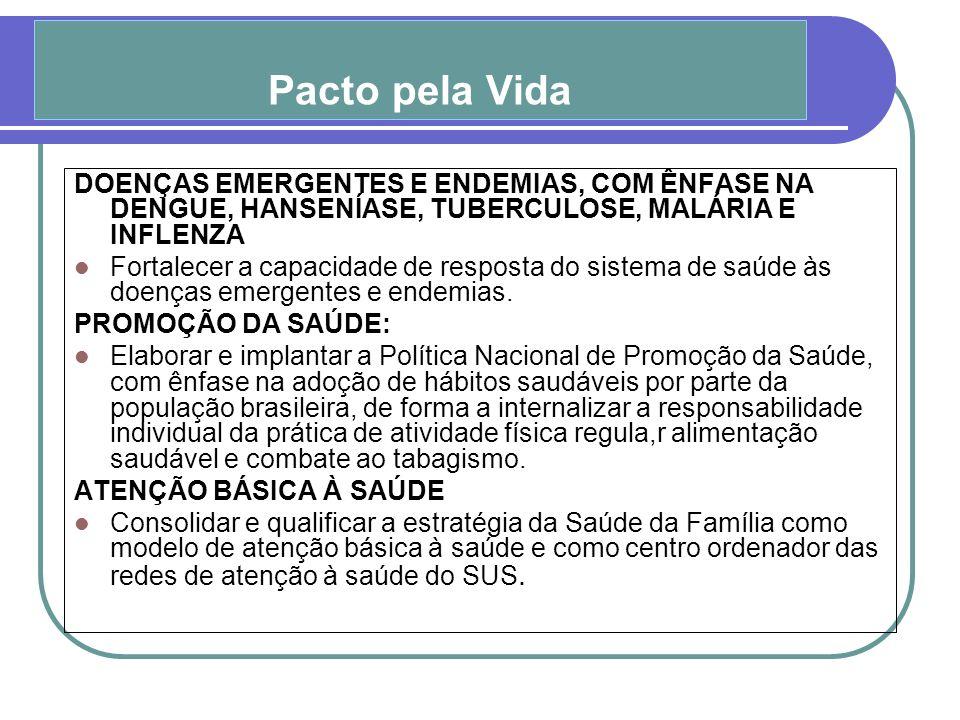 Pacto pela Vida DOENÇAS EMERGENTES E ENDEMIAS, COM ÊNFASE NA DENGUE, HANSENÍASE, TUBERCULOSE, MALÁRIA E INFLENZA.