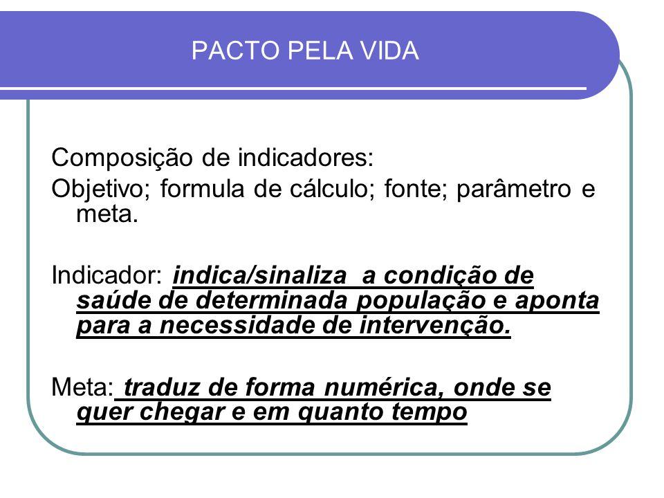 PACTO PELA VIDA Composição de indicadores: Objetivo; formula de cálculo; fonte; parâmetro e meta.