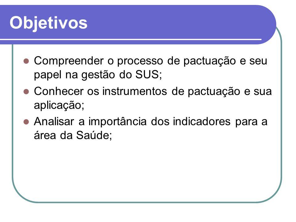 Objetivos Compreender o processo de pactuação e seu papel na gestão do SUS; Conhecer os instrumentos de pactuação e sua aplicação;