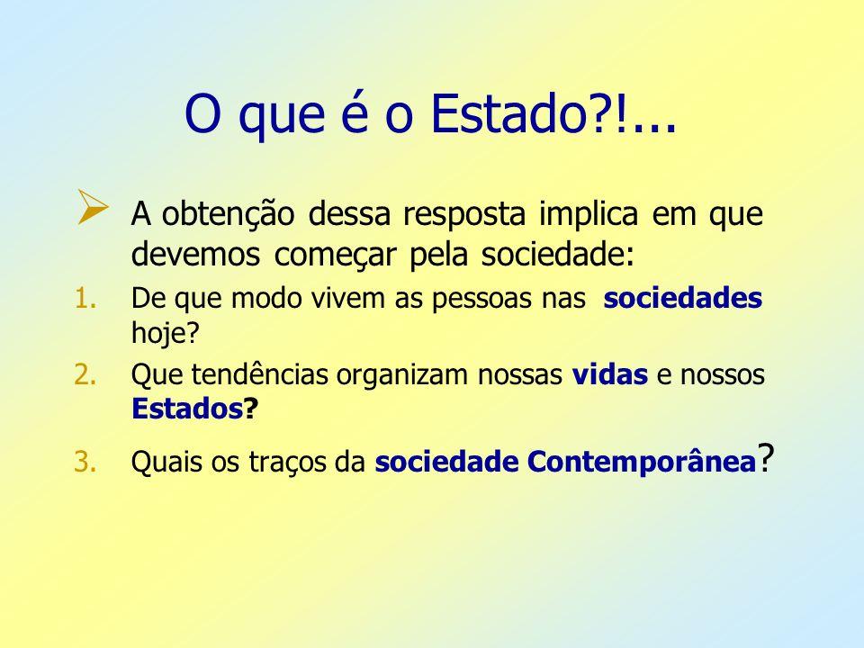 O que é o Estado !... A obtenção dessa resposta implica em que devemos começar pela sociedade: De que modo vivem as pessoas nas sociedades hoje