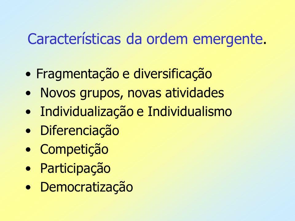 Características da ordem emergente.
