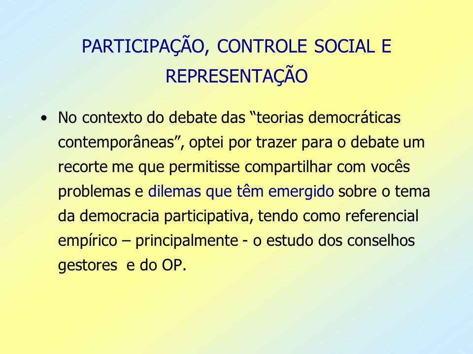PARTICIPAÇÃO, CONTROLE SOCIAL E REPRESENTAÇÃO