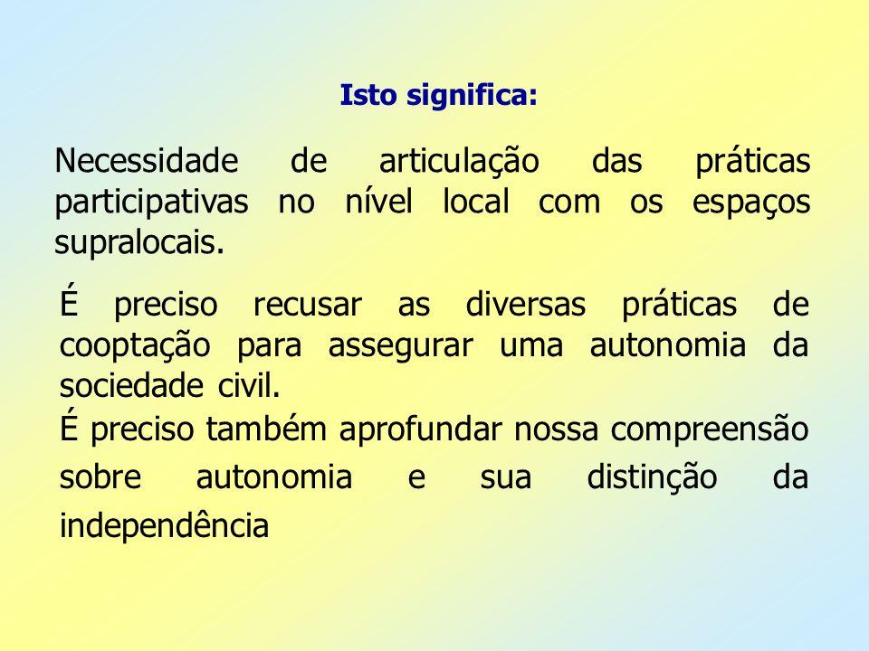 Isto significa: Necessidade de articulação das práticas participativas no nível local com os espaços supralocais.