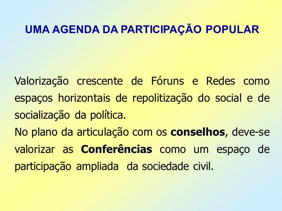 UMA AGENDA DA PARTICIPAÇÃO POPULAR
