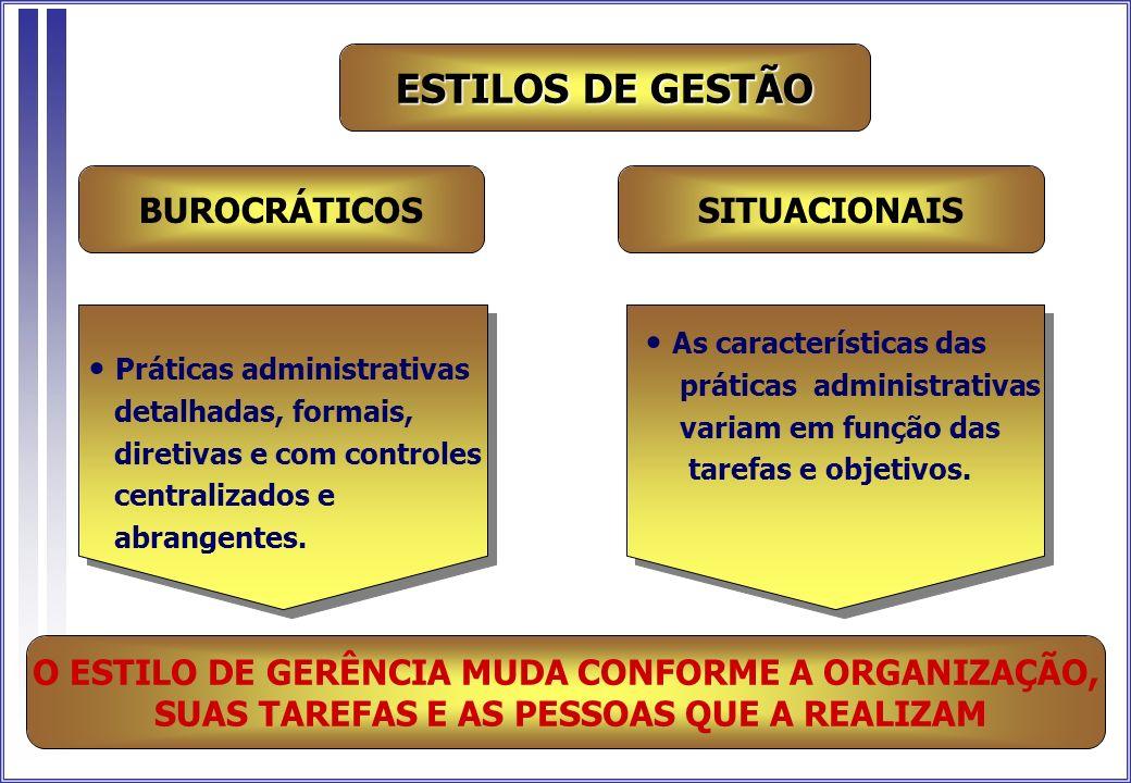 ESTILOS DE GESTÃO BUROCRÁTICOS SITUACIONAIS As características das