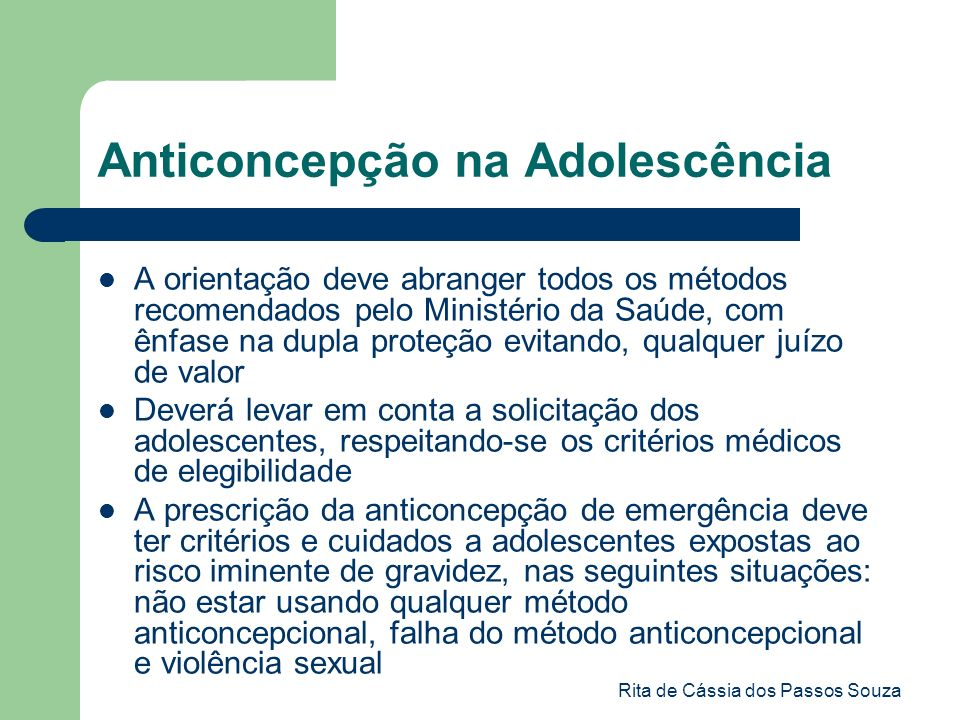 Anticoncepção na Adolescência
