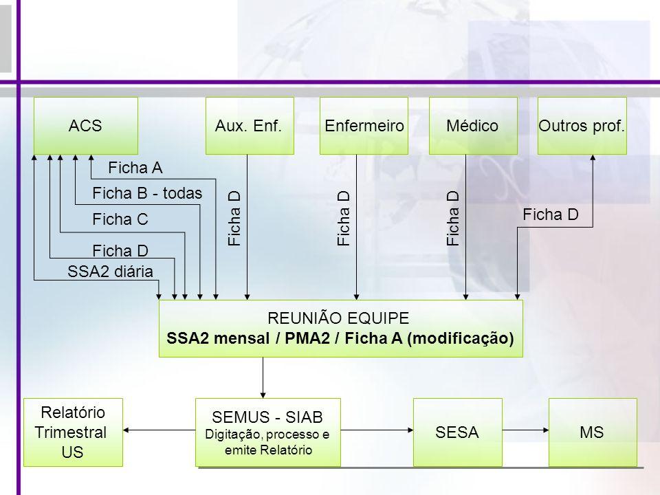 SSA2 mensal / PMA2 / Ficha A (modificação)