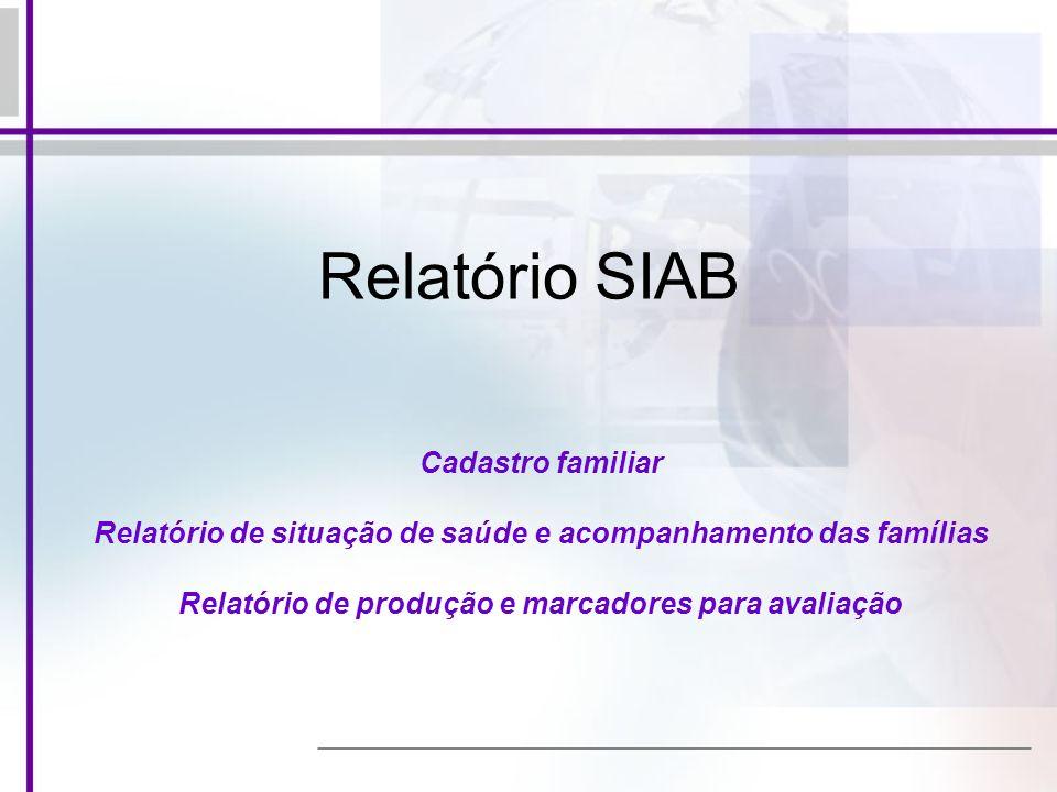 Relatório SIAB Cadastro familiar