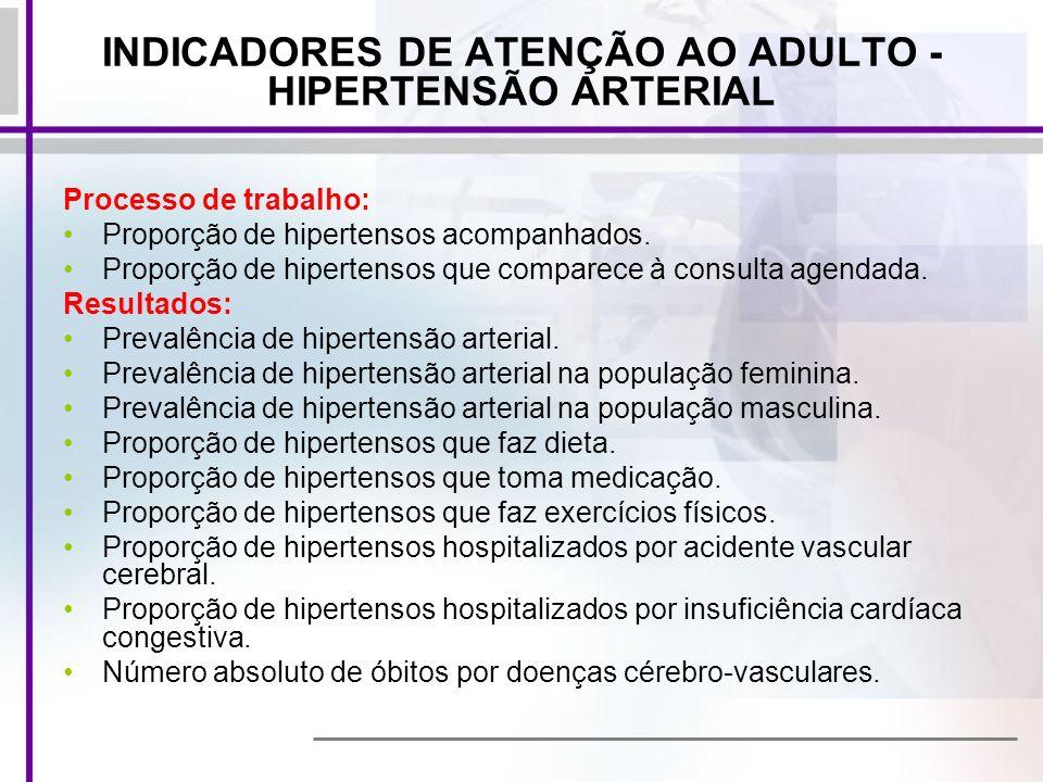 INDICADORES DE ATENÇÃO AO ADULTO - HIPERTENSÃO ARTERIAL