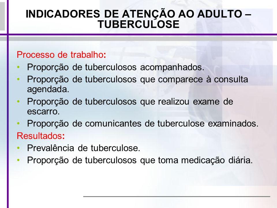 INDICADORES DE ATENÇÃO AO ADULTO – TUBERCULOSE
