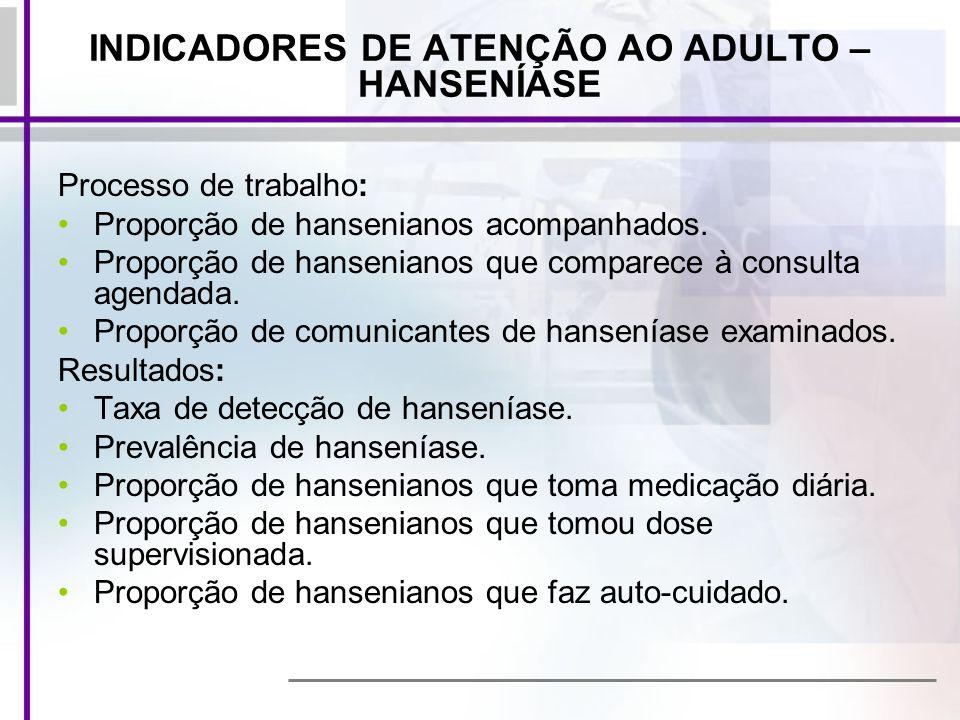 INDICADORES DE ATENÇÃO AO ADULTO – HANSENÍASE